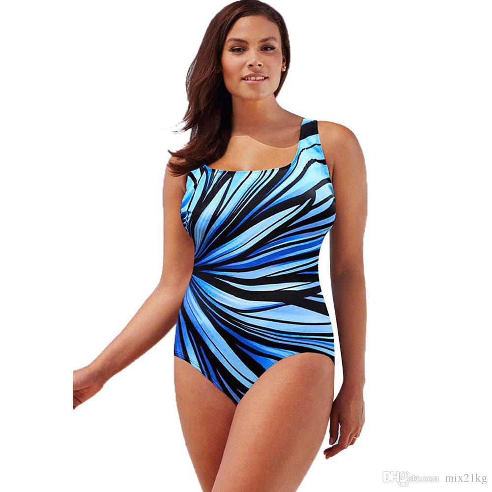Plus Size 3XL Woman Fat Big Yard Stripe Gradual Change Print One-piece Padded Sexy Swimsuits Bodysuit Bathing Suit Beach Wear
