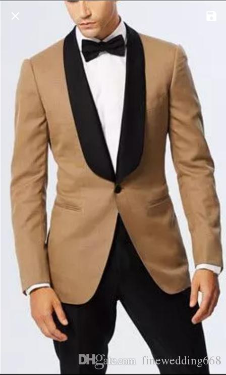 Beau châle revers Beige Groomsmen Portez un bouton TUXEDOS HOMMES SUITES HOMMES SUITS MARIAGE PROM Dink Man Blazer (veste + pantalon + cravate)