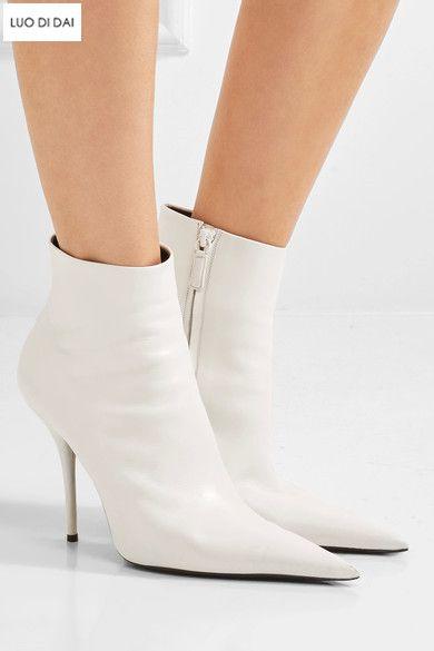mejor precio como escoger seleccione para oficial Compre 2018 Mujeres De La Manera Botas Blancas Botas De Punta Puntiaguda  Zapatos De Fiesta De Las Mujeres Zip Up Botas De Tobillo Zapatos De Vestir  ...