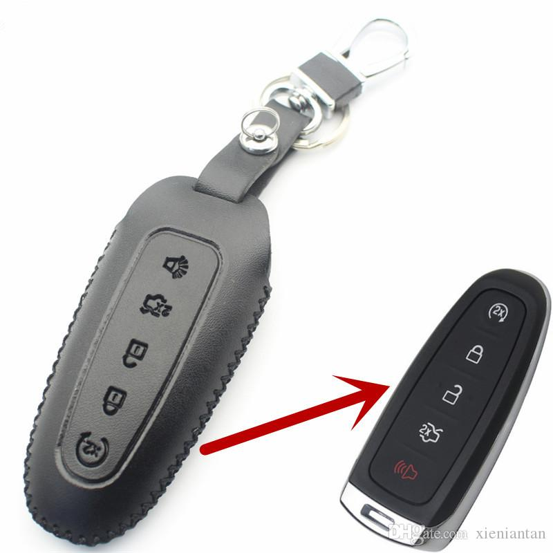 FLYBETTER Genuine Leather 5Button Smart Key Case Cover For Ford Edge/Explorer/Escape/Flex Car Styling L36