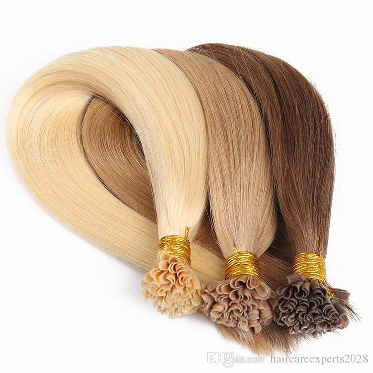 ELIBESS HAIR - 풀 큐티 정렬 레미 인간의 머리 더블 그려진 사전 보디 케라틴 네일 U 팁 헤어 익스텐션 1g / strand 100strands
