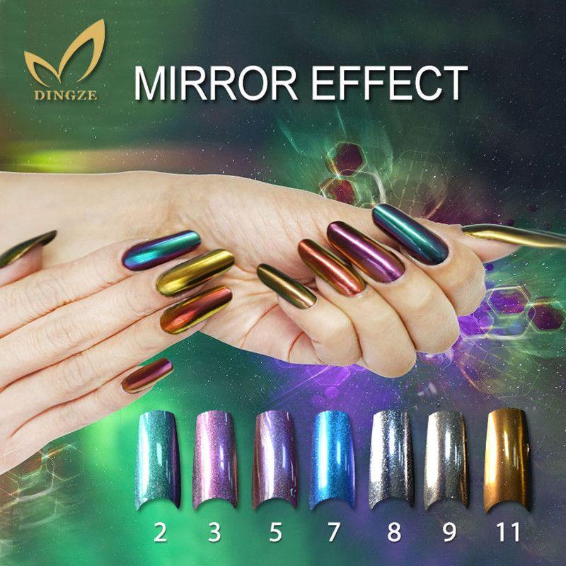 2g Silver Mirror Nail Glitter Powder Chrome pigmento polvo Shinning Glitters Manicura Nail Art Gel polaco decoraciones