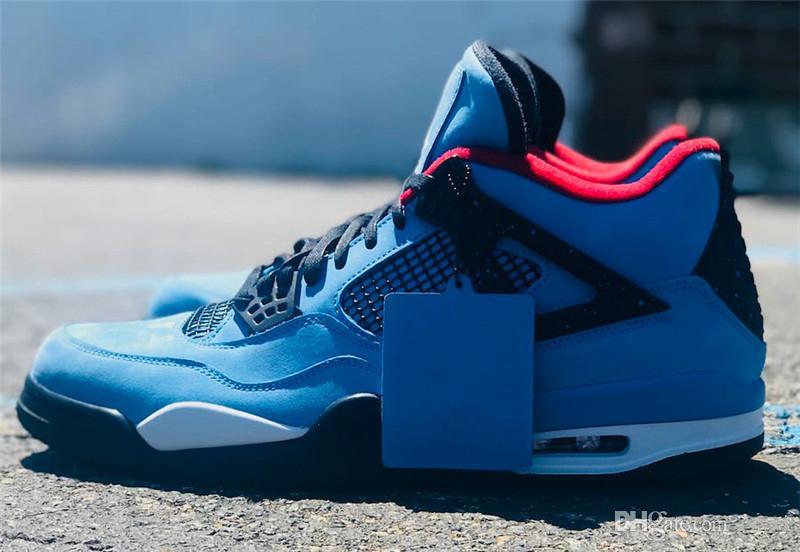 Travis 2018 Nuevo lanzamiento 4 Houston 4S Cactus Jack IV Zapatillas de baloncesto azules Zapatillas de deporte de calidad auténtica 308497-406 Envío gratis