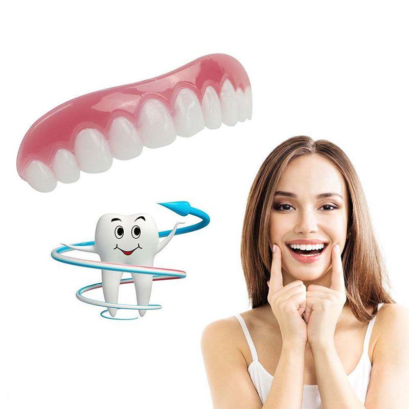 Novo Silicone Simulação Cintas Dentes Sorriso Instantâneo Conforto Fit Flex Silicone Simulação Dentes Chaves Para O Presente E Decoração Opp