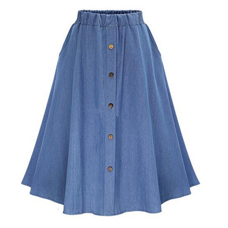 Gonne di jeans a vita alta per donna Moda Solido Sottile Jean Jupe Casual monopetto Falda Vaquera 2017 Nuova gonna estiva Donna