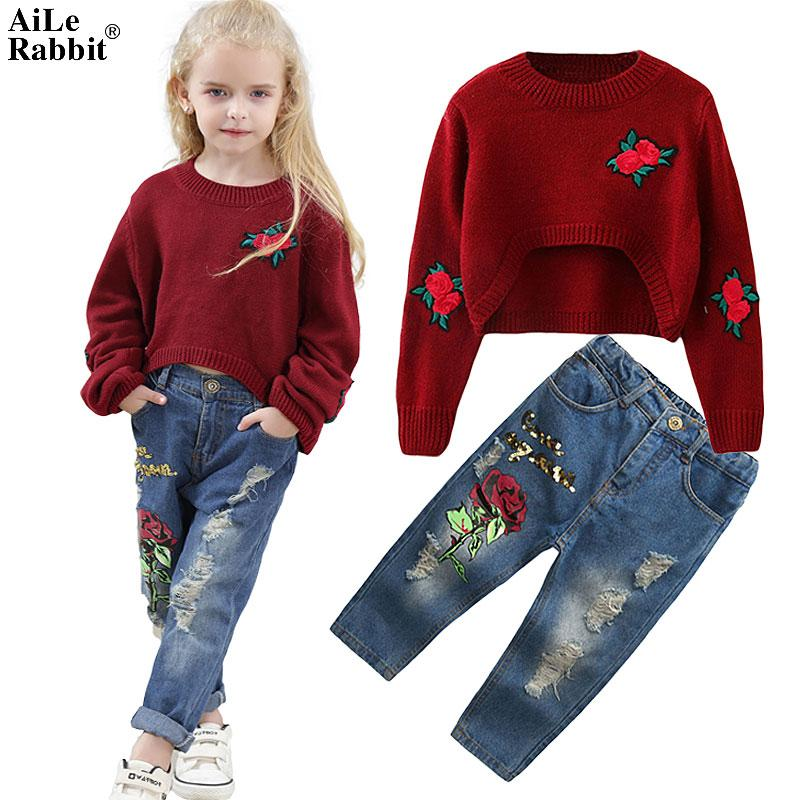 New INS Girls Suit Rose Sweater Jeans 2 Pcs/set Fashion Holes Sequin Flower Pants Long Sleeves Kids Clothes