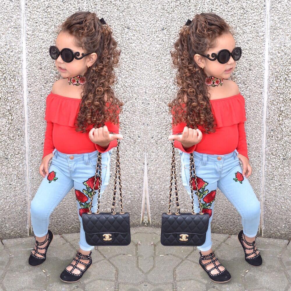 Miúdos Roupas Set Off Top Top Primavera Outono Roupas de Bebê Para Roupas Meninas Criança Moda Tshirt Rose Denim Calças