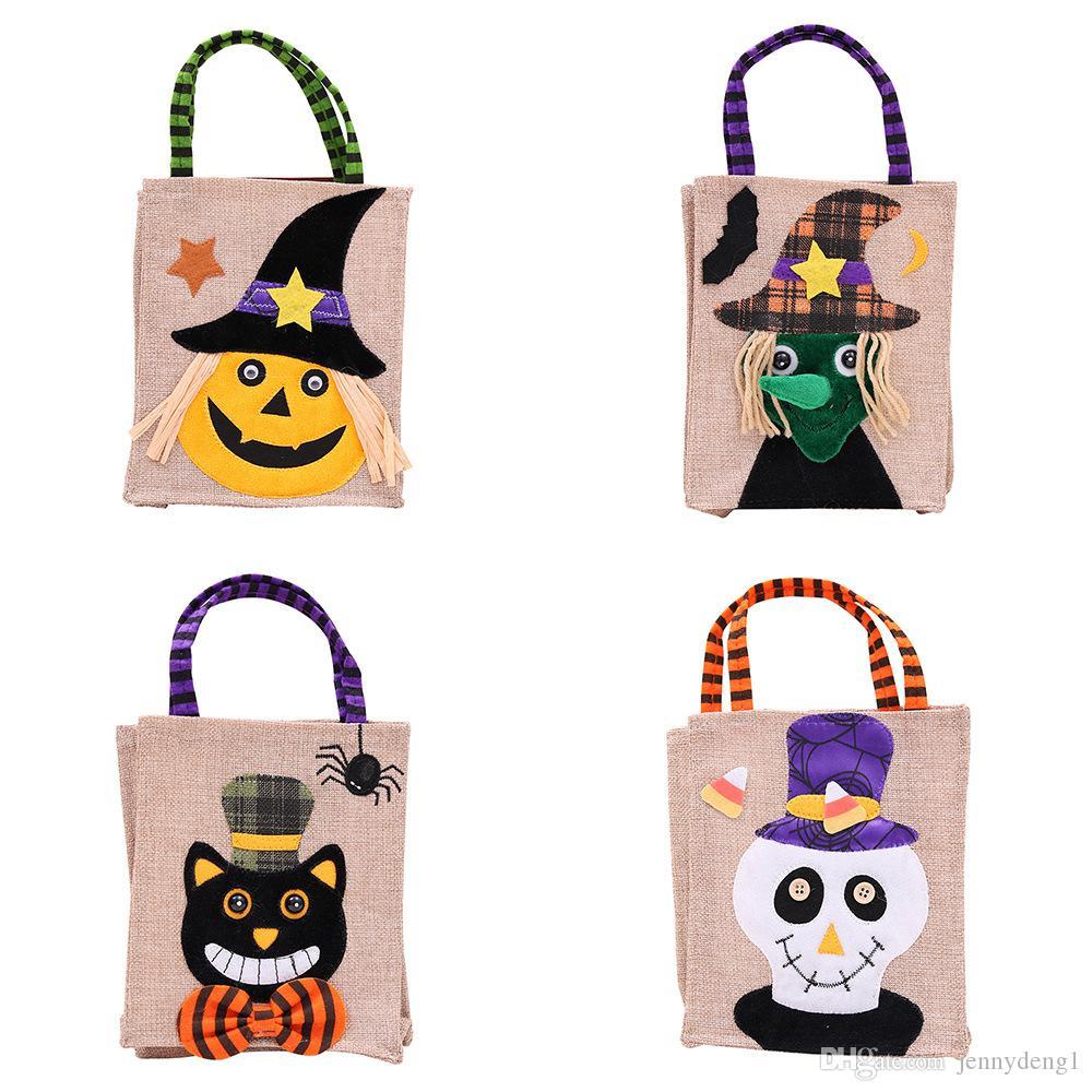 unique design decorations creative cartoon witch gift bags children's parties dress up as linen candy pumpkin halloween bag