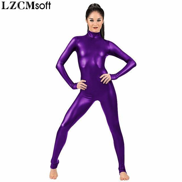 LZCMSoft Donne Manica Lunga Metallica Metallic Unitards Adulti Shiny Full Ballet Gymnastics Catsuits Dancewear Spandex Unitarts Stage Show