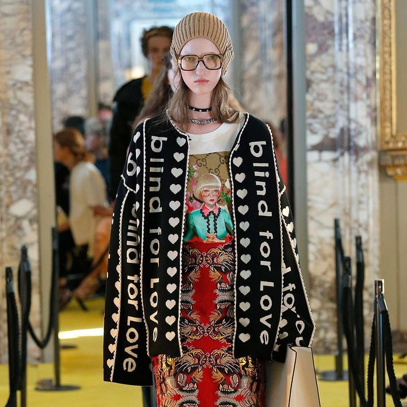 Frouxo do Natal do inverno Roupa 2018 Runway Designer letra preta Cardigan mulheres camisola longa Vintage Striped Lady Jupmer Luxo