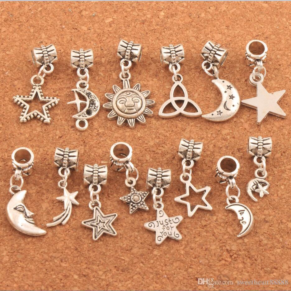 Mixed Star Moon Sun Charm Beads 280pcs/lot Tibetan Silver Dangle Fit European Bracelets DIY Hot sell