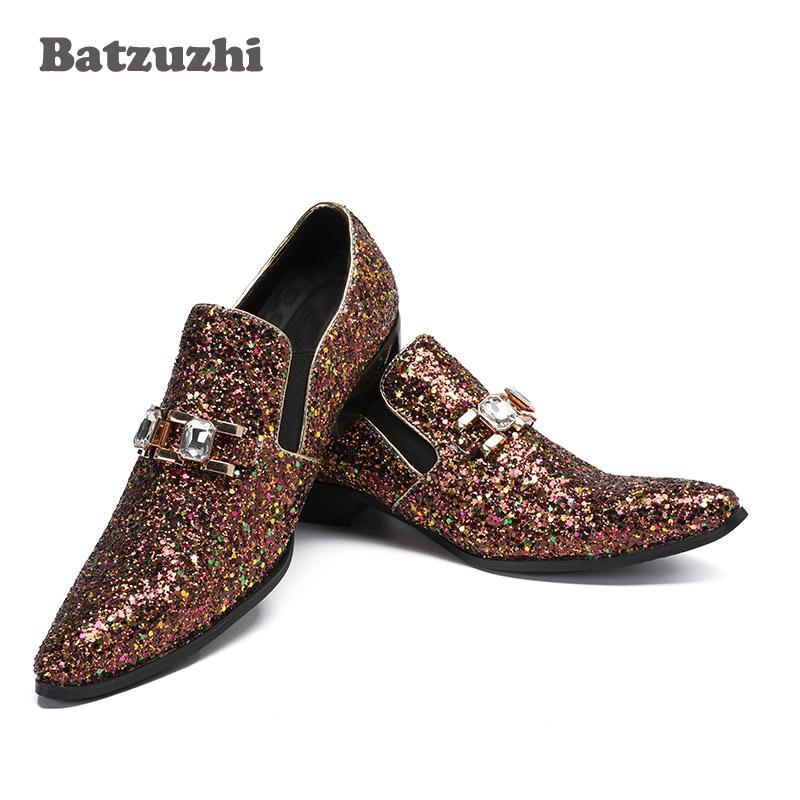 NUOVE scarpe da uomo di lusso 2018 scarpe eleganti a punta in pelle marrone Designer italiano Glitter Party scintillante, scarpe grandi per uomo, US12