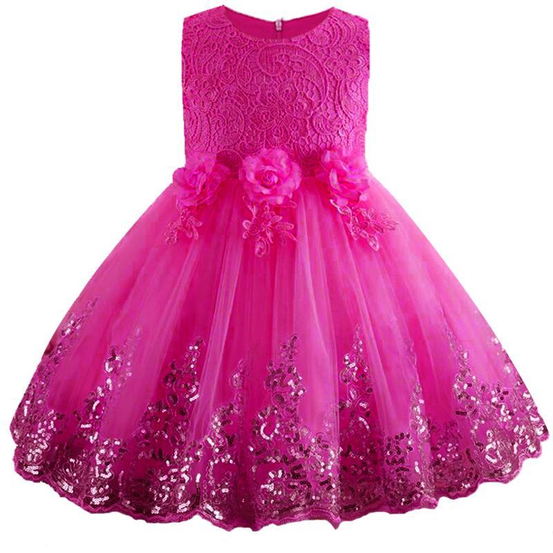 Compre Nuevo Vestido Para Niñas De Flores Vestido Para Niñas Con Lentejuelas De Flores Princesa Con Lentejuelas 3 12 Años Fiesta De Los Niños Weddding