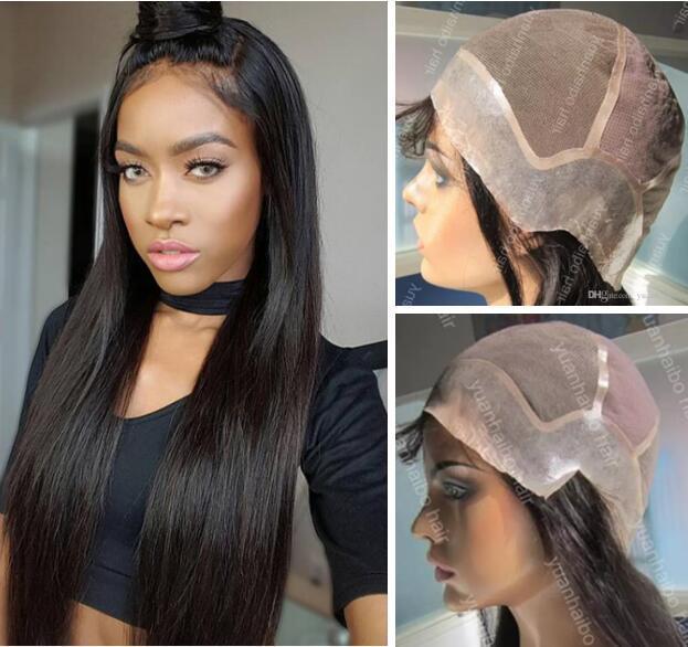 Volle Spitze mit PU um Perücken Burmese Menschliches Haar Glattes Haar volle Spitze mit dünner Haut Perimeter-Perücke für schwarze Frauen-freien Verschiffen
