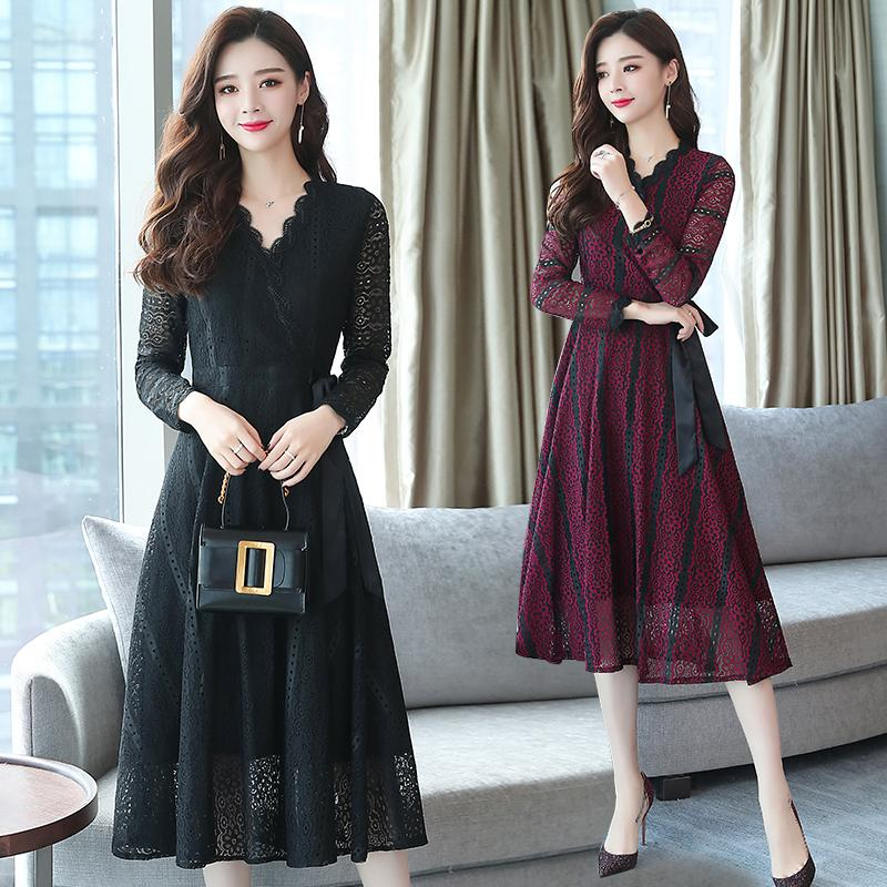 37897baa7d7 2018 Autumn Winter Plus Size Black Vintage Lace Midi Dresses Women Elegant  Bodycon purple Dress Party Long Sleeve Runway Vestido