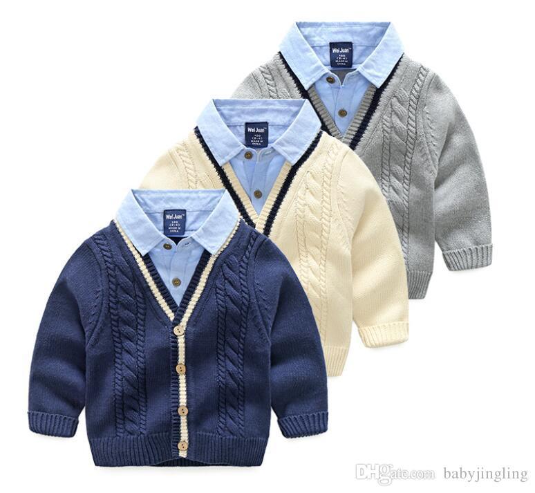 2019 봄 소년 케이블 니트 스웨터 카디건 겨울 두꺼운 키즈 니트웨어 코트 턴 다운 칼라 어린이 재킷