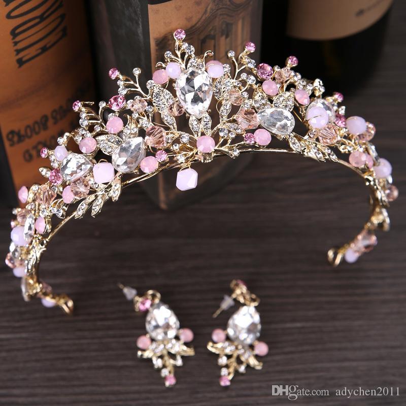 New white pink beads bridal crowns handmade tiara bride headband crystal rhinestone wedding hair accessories Bridal Jewelry Set with Earings