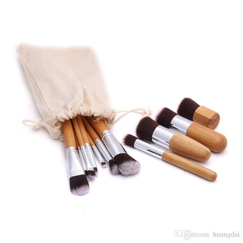 Çanta Ile 11 adet / takım Bambu Makyaj Fırçalar Allık Pudra Kaş Eyeliner Vurgulamak Kapatıcı Kontur Vakıf Makyaj Fırça Seti Ücretsiz DHL