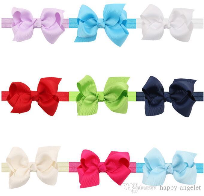 Cabelo Ribbon Boutique Neon Grosgrain Arcos Shimmery macio elástico Elastic headbands Cabelo Acessórios Faixa de Cabelo bowknot 50pcs HC016