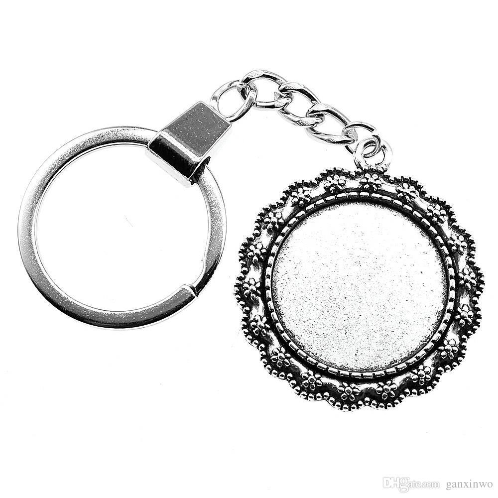 6 조각 키 체인 여성 열쇠 고리 커플 키 체인 키 꽃 싱글 사이드 내부 크기 25mm 라운드 카보 숑 카메오 자료 트레이 베젤 빈