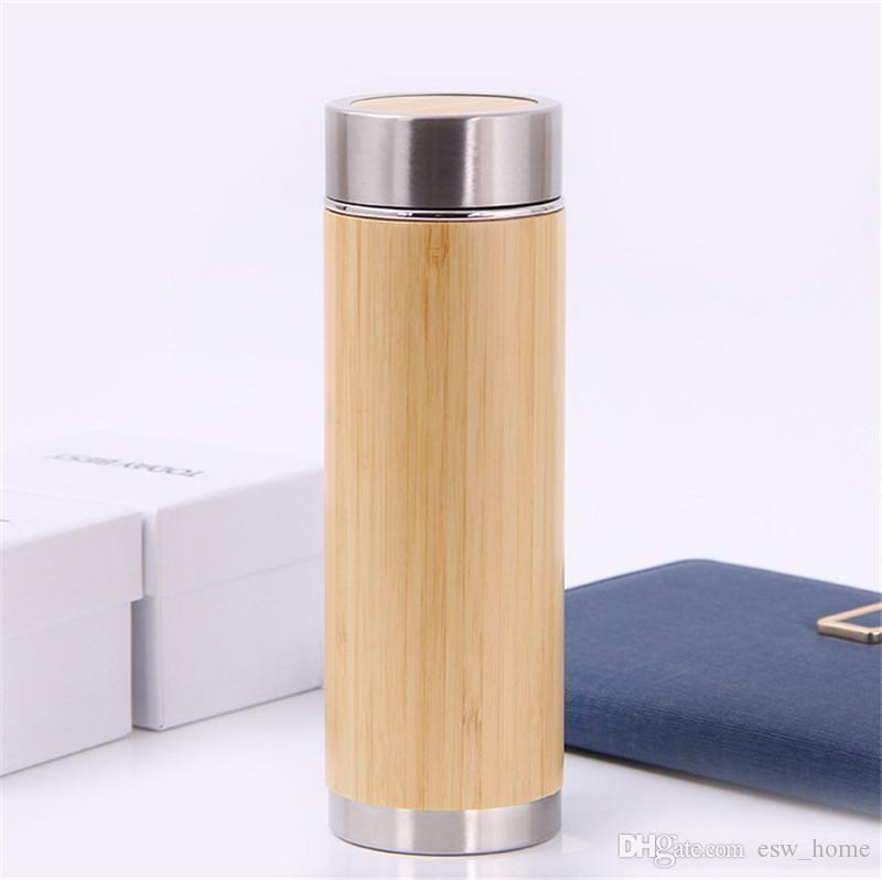 Garrafa de Água de Aço Inoxidável garrafa térmica 2018 Shell De Bambu Água Quente Infusor Térmica Garrafa de Viagem Garrafa Garrafa Isolada Copo