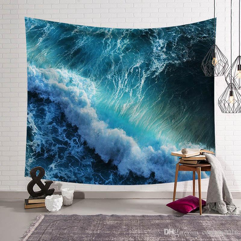 1 Pcs Azul Onda Do Vento Pinturas Tapeçaria Estilo Boêmio Casa Têxtil Decoração Tecido de Parede Pendurado Tapete de Praia