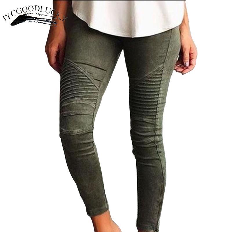 Pileli Skinny Jeans Kadın Moda Ince Güçlü Elastik kadın Kot Pantolon Bayanlar Tüm Maçlar Kadınlar Için Beyaz Kot Pantolon S914