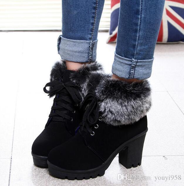 Nova moda Lace-up mulheres botas 2018 novo além de veludo manter quente botas de salto alto botas senhoras sapatos tamanho mulher 35-40