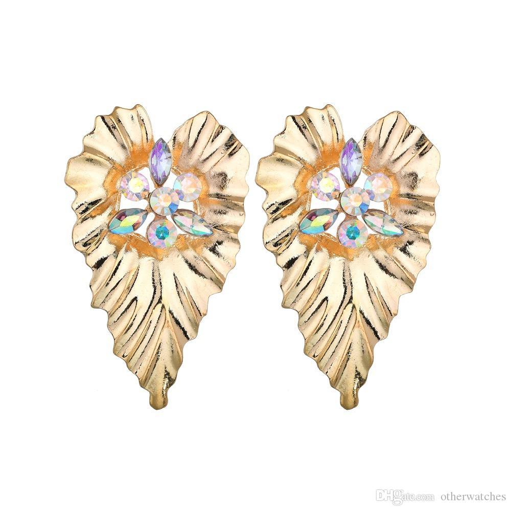 Модные металлические текстурированные серьги в форме сердца уха шпильки