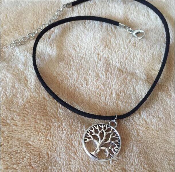 XL 0337 2017 moda veludo retro gótico árvore da vida desejando árvore pingente de colar de jóias clavícula feminina jóias vestuário acesso