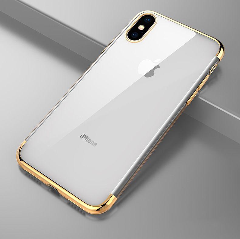 3 in 1 caso copertura trasparente Placchi placcatura TPU del gel di gomma di silicone trasparente per iPhone 11 Pro Max XS XR X 8 7 6 6S Plus Anti-colpo