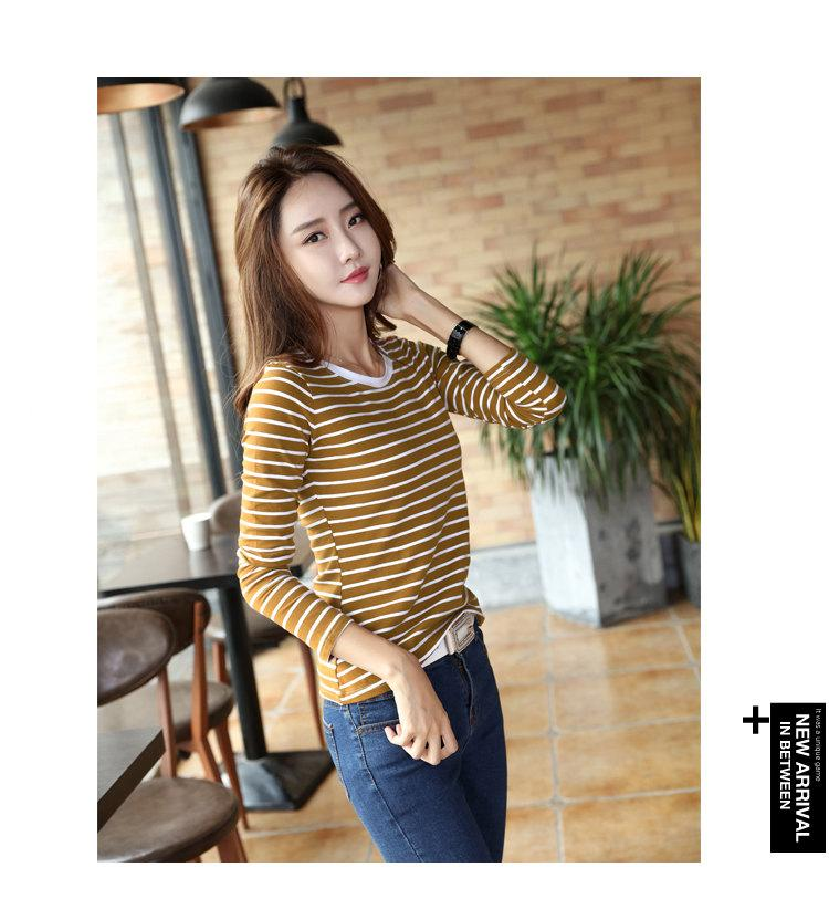 Autumn Winter Striped T-shirt Women Casual Plus Size Tops Tees Femme Long Sleeve Women Cotton Tshirt Camisetas Mujer 2019 (9)