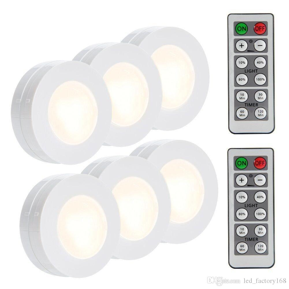 SUNBOST Wireless LED Puck Lights 4000K Natural White 6 Pack Kitchen Under Cabinet Lighting Wireless Closet Lights Battery Operated Remote Co