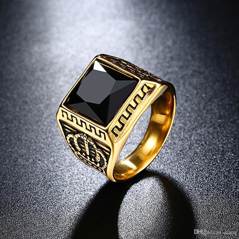 Personalidade de luxo Coroa Preto / Vermelho Zircon Mens Anéis De Ouro Bandas De Casamento Pandora Anéis de Aço Inoxidável Anel de Campeonato de Jóias