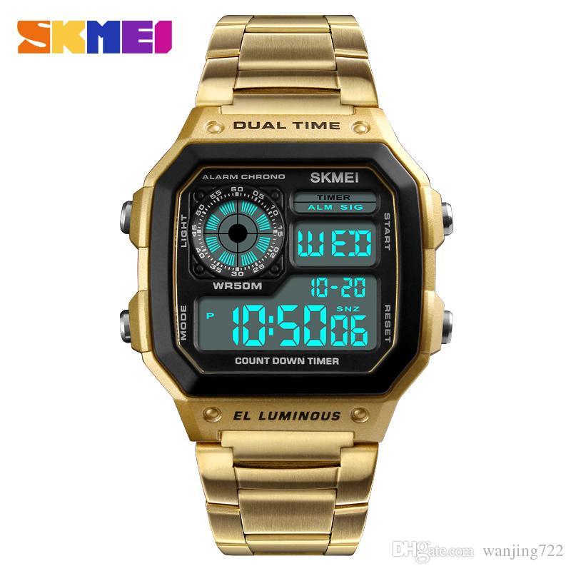 SKMEI горячая мода квадратный циферблат часы Мужские спортивные часы Марка из нержавеющей стали цифровые наручные часы водонепроницаемый мужской часы