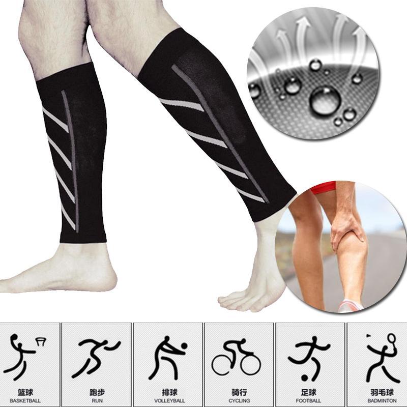 Par de bezerro apoio compressão manga perna correndo meias esportivas ao ar livre exercício Brace envoltório de manga de apoio ao ciclismo de corrida