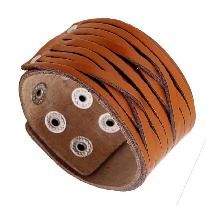 New Fashion Unisex Vintage Braided Leather Cuff Bracelet Light Brown Punk Wide Wristband Bangle Snap Adjustable Jewelry Wholesale Supplies