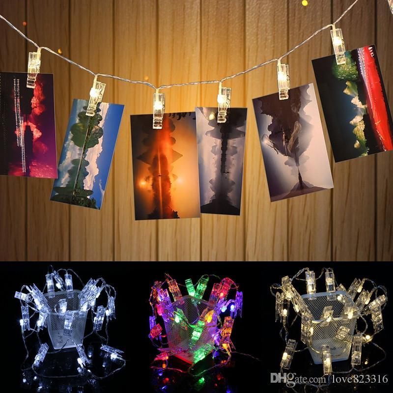 2M 20 LED 화환 카드 사진 클립 문자열 빛 새해 크리스마스 축제 파티 웨딩 램프 가정 훈장 빛 100piece / lot를지도했다