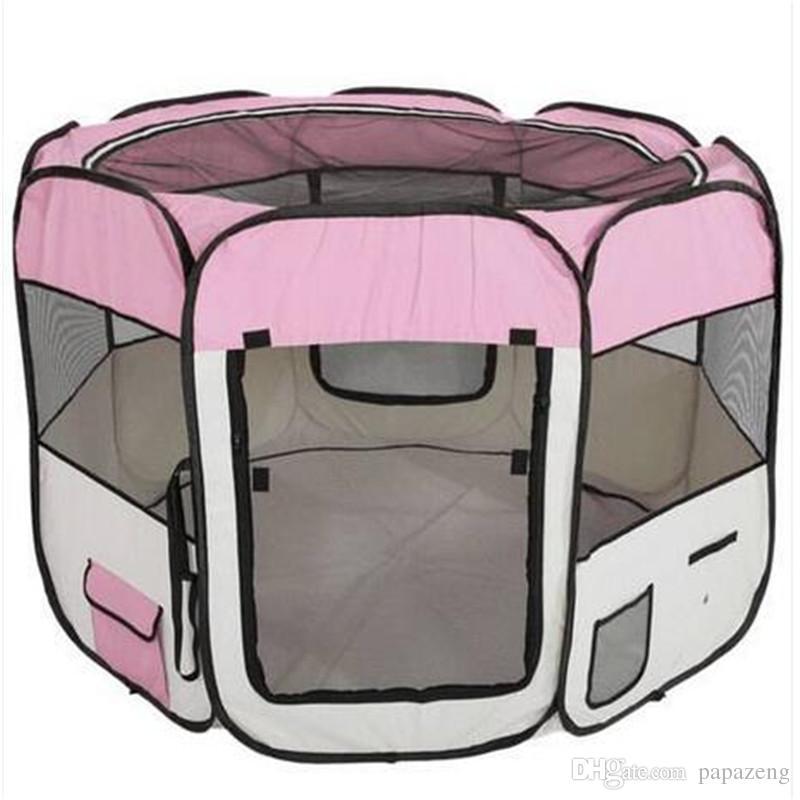 2018 الجملة 57 بوصة المحمولة طوي 600d أكسفورد القماش شبكة روضة السياج مع ثمانية لوحات 59 سنتيمتر 94 سنتيمتر الكلب السفر outdoors