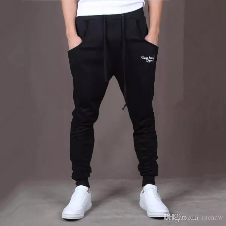 Wholesale-Hot! New Brand Mens Joggers Casual Harem Sweatpants Sport Pants Men Gym Bottoms Track Training Jogging Trousers+