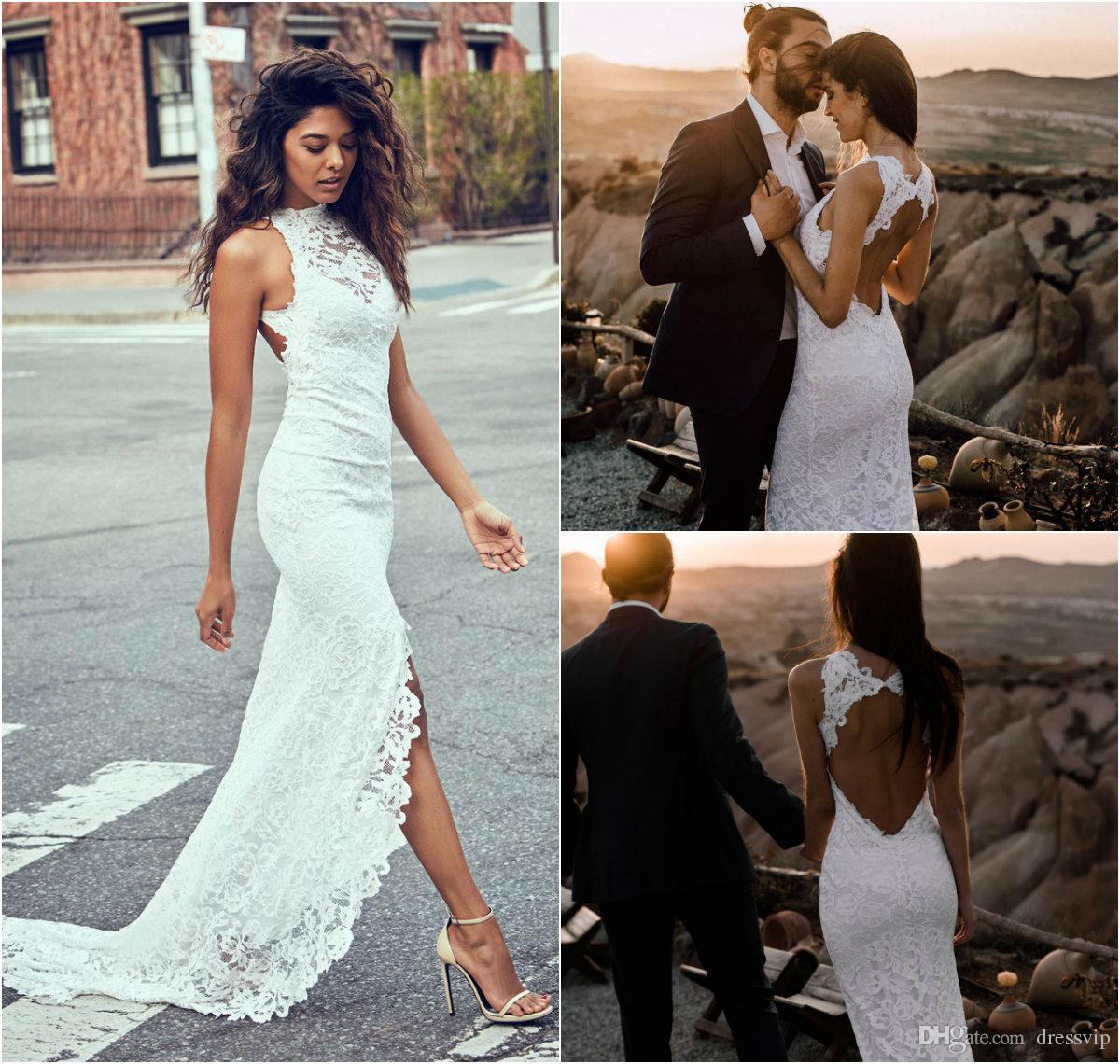Lace sirena vestidos de novia joya cuello sweep tren lado división hueco trasero vestido de novia talla grande vestido de novia Robes de Mariée