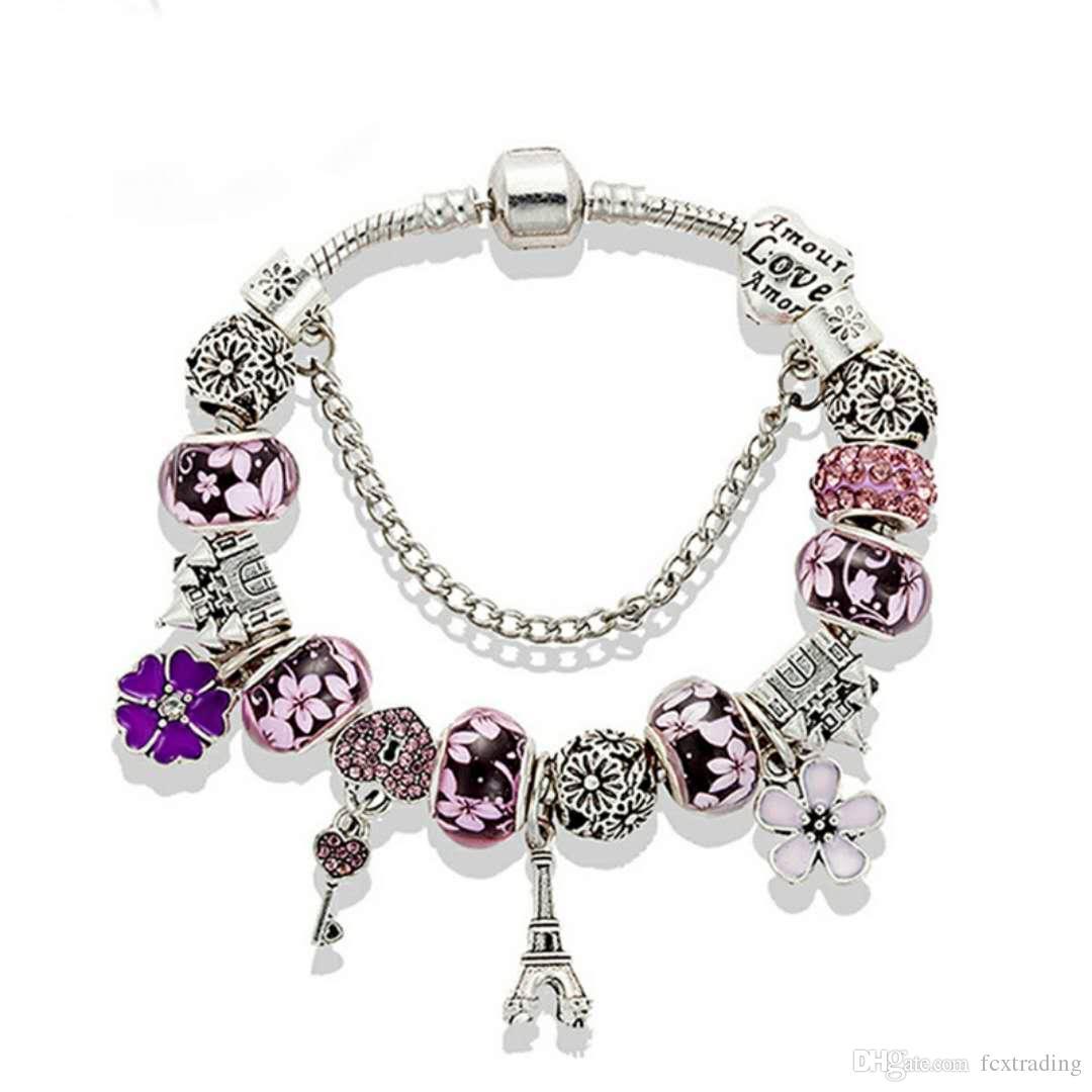 Hotsale New Charm Bracelet 925 pulseiras Torre do Castelo Beads Eiffel pendant Bangle para Acessórios presente DIY jóias com caixa