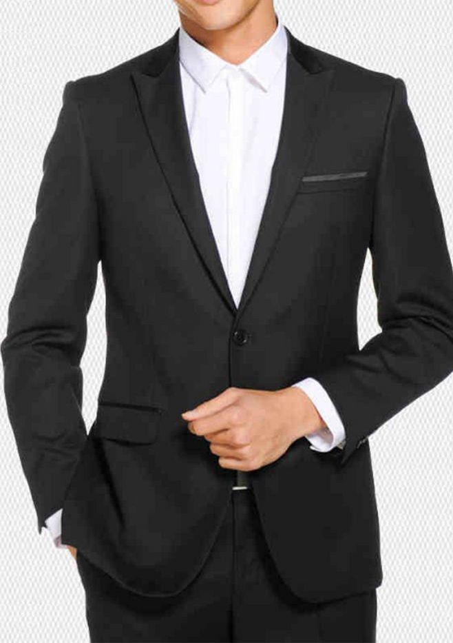 Zarif Damat Smokin Siyah Doruğa Yaka Groomsmen Suits 2 Parça (Ceket + Pantolon) Custom Made Evlilik Erkekler için Resmi Suit Akşam Parti için