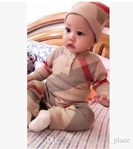 브랜드의 새로운 아기 의류 새로운 태어난 가을 격자 무늬 니트 바디 수트 아기 어린이 스웨터 의상 무료 배송
