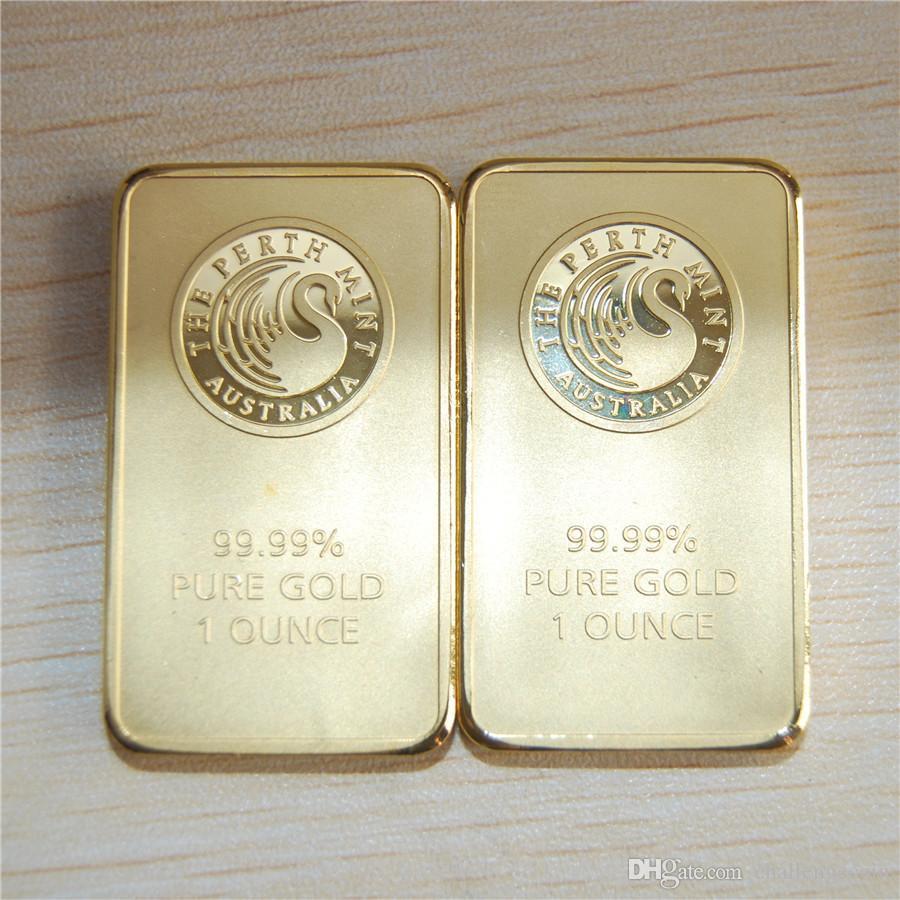 5pcs / lot O envio gratuito de uma onça Perth Mint Gold Bar barra de ouro cisne negro não magnético