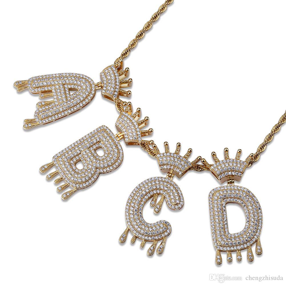 Whosale A-Z No Custom Name Crown Drip Bubbles Letter Pendant Necklace Charm With Free Rope Chain Gold Silver Color Cubic Zircon Jewelry