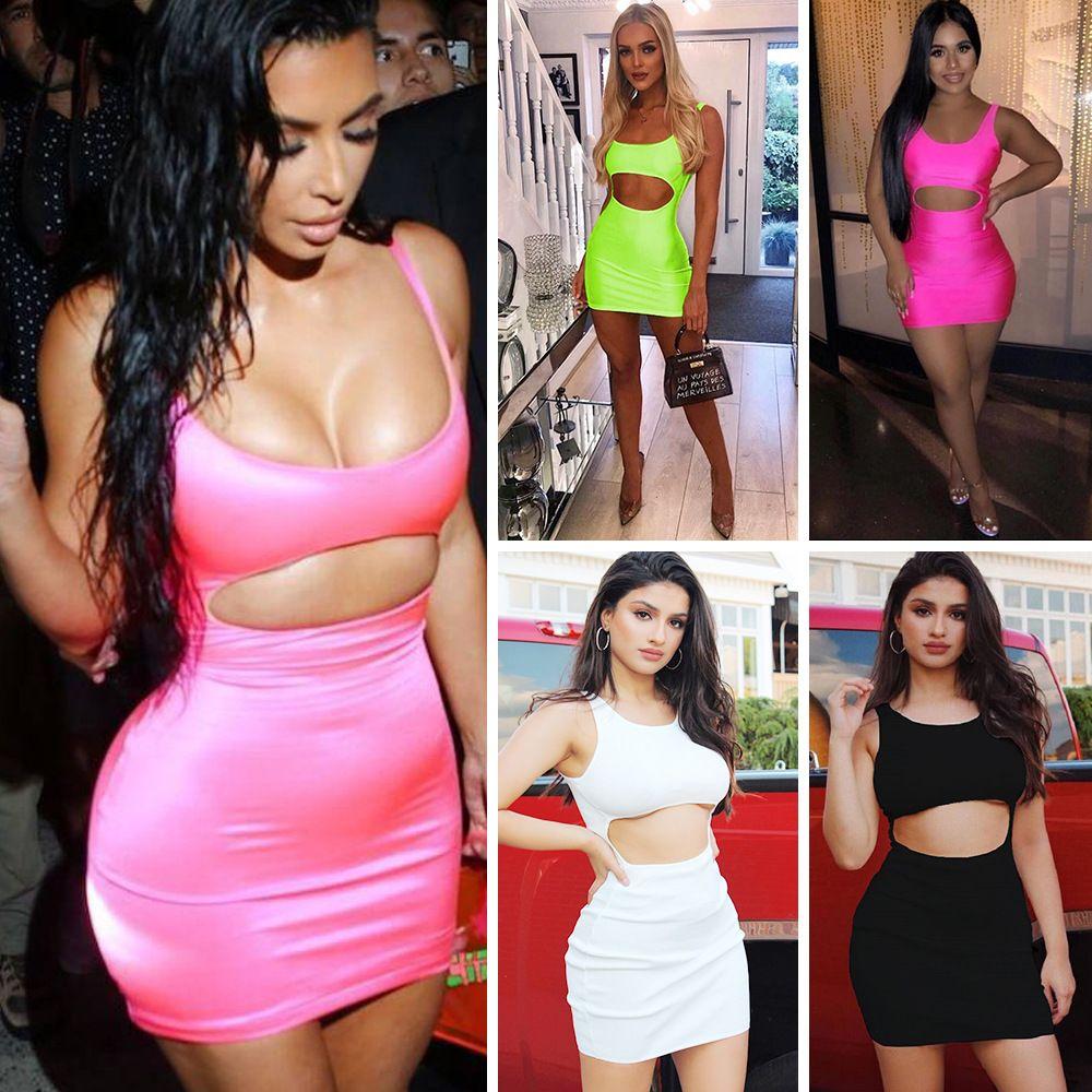 여성 섹시한 나이트 클럽 미니 드레스 깊은 목 등이없는 민소매 파티 드레스 스키니 Bodycon 드레스 여성 의류 제국 허리 빈 아웃