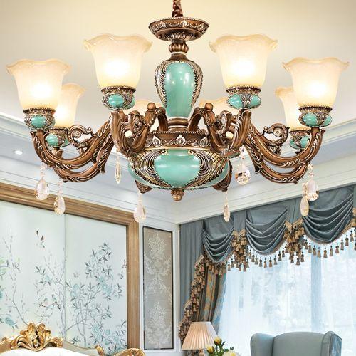 Pendant lamps European pendant chandelier light elegant luxury vintage American royal fancy classic led pendant lighting with lighting bulbs