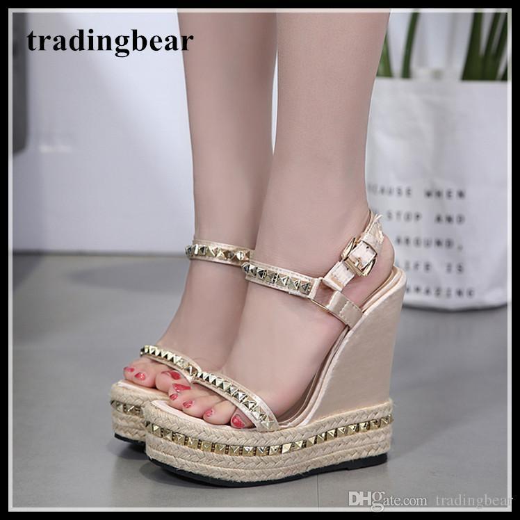 15cm Fashion rivets straw woven platform wedges sandals beige super high heels designer shoes 2018 size 35 to 40