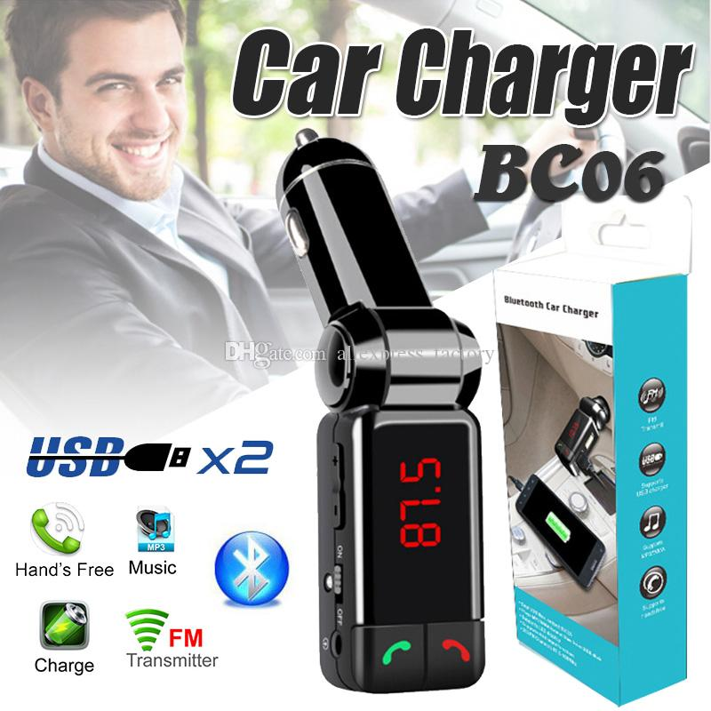 BC06 Bluetooth Car Charger Wireless Hands-free Universal Support TF Card MP3 Music Player Speaker Aux FM Transmitter Mini Dual USB Chargers